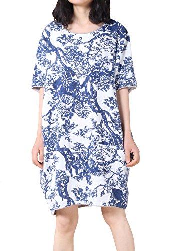 MatchLife Femme Été Manches Courtes Retro Robe Bleu