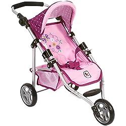 Bayer Chic Jogging Buggy Lola 200061229 - Carrito de bebé para muñeca, diseño de lunares, color morado, lila y rosa