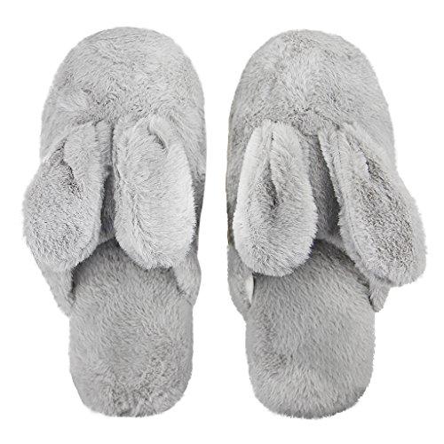 Chaussons Femme Peluche Chaussons Unisexe Chaussons Homme Hiver Pantoufles Souples Chauds Confortables Chaussons Mignon en motif de Lapin Gris