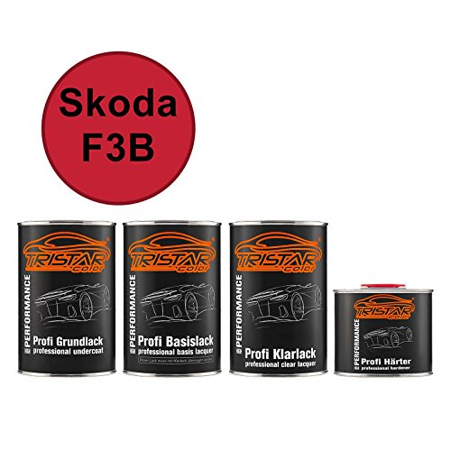 Preisvergleich Produktbild Autolack Set Dose spritzfertig Skoda F3B Sportline Red Grundlack + Basislack + 2K Klarlack 3, 5L