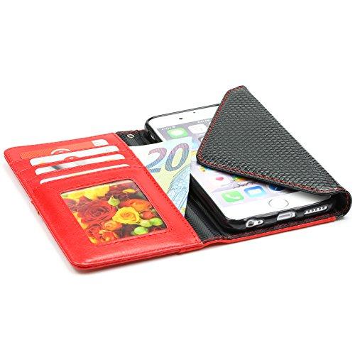 iPhone 6 Plus / 6s Plus Hülle, Urcover® Crocodile Portmonee Edition Handyhülle Schutz mit Karten- & Geldfach Case Cover Etui Wallet für Apple iPhone 6 Plus / 6s Plus Braun Rot