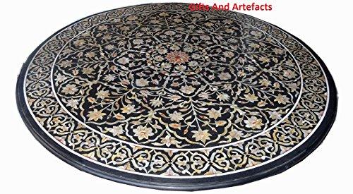 Gifts And Artefacts Luxury & teure Sofa Center Tisch Top Royal 182,9cm schwarz rund Marmor Einlage Art - Marmor Top Sofa Tisch
