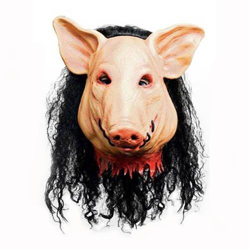 PARTY DISCOUNT Maske Saw Pig / Schwein mit Haar aus Latex