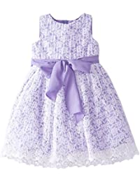Us Angels Little Girls' Crinkled Lace Dress with Bow