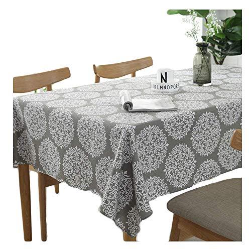 Meiosuns retro tovaglia grigia tovaglia rettangolare tovaglia in lino di cotone adatta per la decorazione domestica della cucina varie dimensioni (140x300cm)