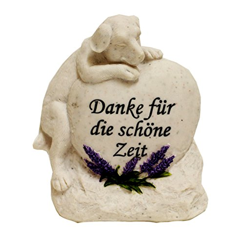 """Grabstein Katze Hund Tiergrabstein mit Spruch Polyresin Gedenkstein """"Danke..."""" (Hund)"""
