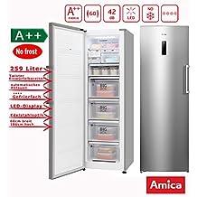 Amica XL Gefrierschrank NoFrost A++ 259L Edelstahloptik 185,5cm Hoch  LED Display Eisschrank /