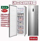 Amica XL Gefrierschrank NoFrost A++ 259L Edelstahloptik 185,5cm hoch LED-Display Eisschrank / Eiswürfelbereiter / nie mehr abtauen