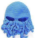 Lookout Unisexe chaud Tricot Squid Casquette pour adulte Barbare Barbe Chapeau Bonnet fait main poulpe Hat-blue