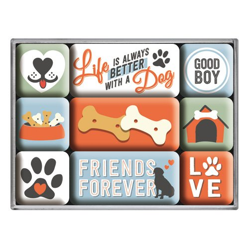 Nostalgic-Art 83100 PfotenSchild - Everthing is better, Magnet-Set (9teilig)