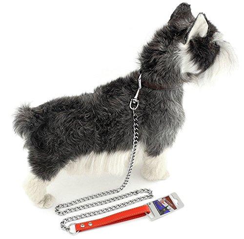 zunea New für Mittel Große Hunde, stark Chrom Leine führt Leder Griff Walking 119,4cm -