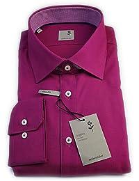 Seidensticker Herren Langarm Hemd Schwarze Rose Slim Fit pink strukturiert mit Patch 229145.46