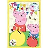 Peppa Pig Alter 3Geburtstagskarte mit Anstecker