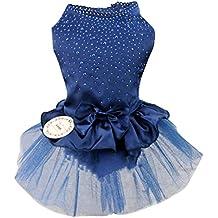 La Vogue Vestido de Perro Princesa Encaja para Verano Boda Fiesta Azul Oscuro Asia XL(