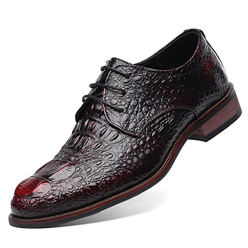 Men's Genuine Leather Crocodile Pattern Oxfords Shoes red
