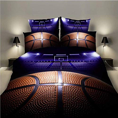 DOUBLE 3D Printed Sports Basketball Duvet Cover Sets für Teen Boys-3 Pieces Bedding Set inklusive 1 Duvet Cover 2 Pillowcases (No Comforter Insider), Queen Size