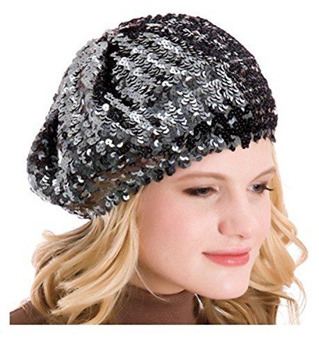 Damen-Mütze mit Pailletten - dunkelgrau - Einheitsgröße