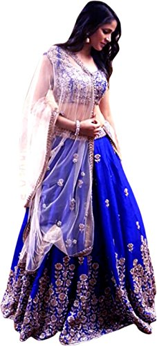 21St Fashion Women\'s Silk Lehanga Choli (L-Nirwa-Blue _Blue_ Free Size)