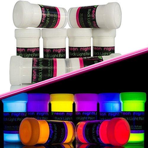 neon nights   Unsichtbare Schwarzlicht Farben   Fluoreszierende UV Leuchtfarbe   Paint Set 8 x 20ml Neon-Farben -