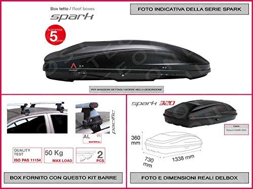 Proposteonline portabagagli Box Tetto Auto 133 x 73 x 36 cm per Smart forfour 2014 > con Barre Portapacchi portatutto cr35lo