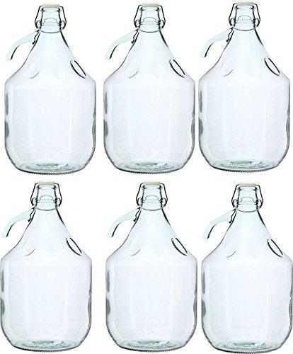 6 STÜCK 5L Gärballon mit BÜGELVERSCHLUSS Flasche Glasballon Weinballon Bügelflasche kostenlose Lieferung