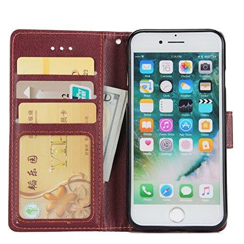 Classic Premiu PU Ledertasche, Horizontale Flip Stand Case Cover mit Cash & Card Slots & Lanyard & Soft TPU Interio Rückseite für iPhone 7 ( Color : Wine ) Wine
