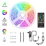 HoMii LED Streifen 5m - RGB LED Strips Sync mit Musik, IP65 Wasserdicht 150 LED 5050 SMD Farbwechsel LED Strip, 40 key Fernbedienung,16 single colors