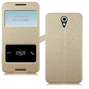 Heartly GoldSand Sparkle Luxury PU Leather Window Flip Stand Back Case Cover For HTC Desire 620 620G 820 Mini Dual Sim - Hot Gold