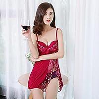 Pyjamas Schwarzer Frühling Sommer Kleid Rock Feminine Adjust Sexy Unterwäsche Zweiteiler (T-Shorts + Sling) GAOLILI