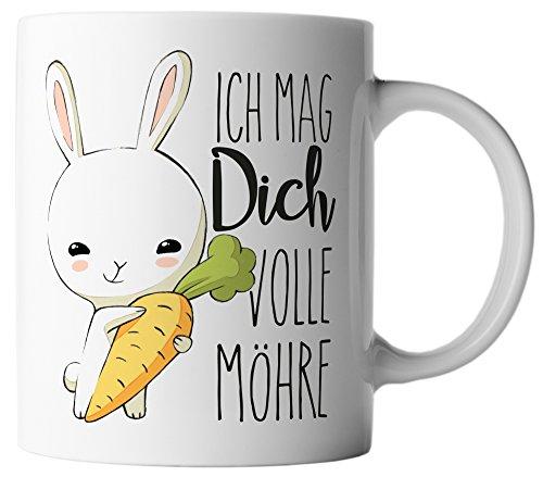 vanVerden Tasse Hase mit Karotte Ich mag dich volle Möhre inkl. Geschenkkarte, Farbe:Weiß/Bunt