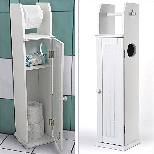 Portarotolo armadietto da bagno in legno bianco WC porta rotolo 78.5 x 18 x 20 cm - Mobiletti e ...