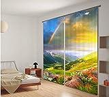 H&M Gardinen Vorhang Regenbogen Schatten Tuch UV EIN warmes Schlafzimmer Fensterdekoration 3D-Druck Vorhangstoff fertig, Wide 2.03x high 1.6