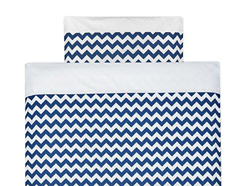 KraftKids Bettwäsche-Set Uniweiss Chevron dunkelblau aus Kopfkissen 80 x 80 cm und Bettdecke 140 x 200 cm, Bettbezug aus Baumwolle, handgearbeitete Bettwäsche gefertigt in der EU - Chevron Baby-bettwäsche-sets