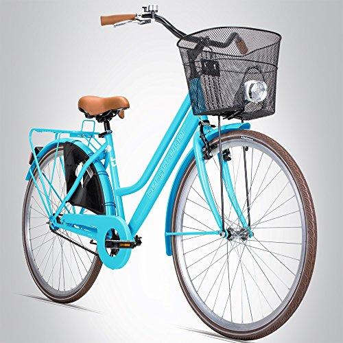 e bike damen retro Bergsteiger Amsterdam 28 Zoll Damenfahrrad, ab 150 cm, Korb, Fahrrad-Licht, Damen-Citybike mit Rücktrittbremse, Hollandrad im Retro-Design