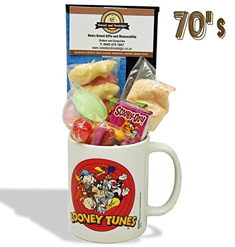 Looney Tunes Mug with a merrie melody selection of 1970's Retro Sweets