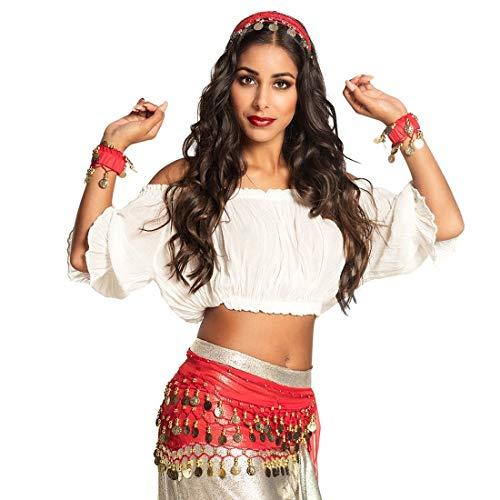 NET TOYS Aufregendes Zigeuner Kostüm-Set für Damen - Rot-Gold - Originelle Frauen-Accessoires Wahrsagerin Verkleidung - Wie geschaffen für Karneval & Kostümfest