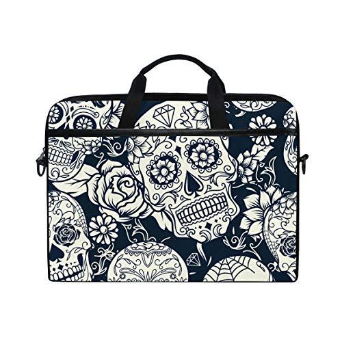 Hunihuni Sugar Skull Flower Laptop Schultertasche Messenger Bag -