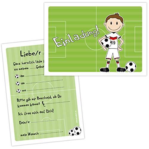 """10 Einladungen zum Kindergeburtstag \""""FUSSBALLER\"""" für Jungs zur Fussball-Party"""