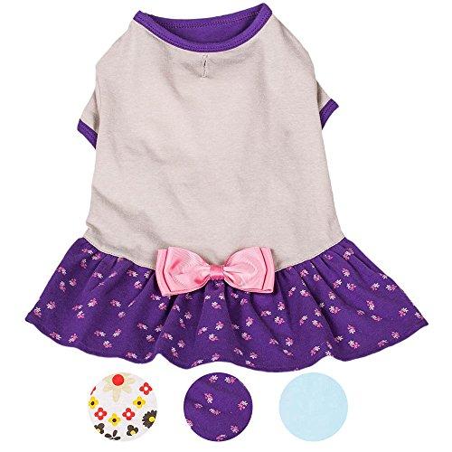 Blueberry Pet 30cm Rückenlänge Hundebekleidung Poloshirt T-Shirt Kleid Orchidee & Grau mit Schleife Baumwolle Hundekleider, M -