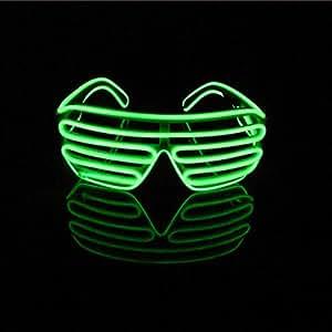 Lerway Luce El neon Filo LED Fino dell'otturatore Moda divertente Occhiali + controllo vocale per Natale Costumi Bar Compleanno Festa (verde chiaro)