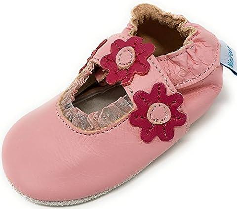 MiniFeet Premium Soft Leather Baby Shoes, Light Pink Sandal 0-6