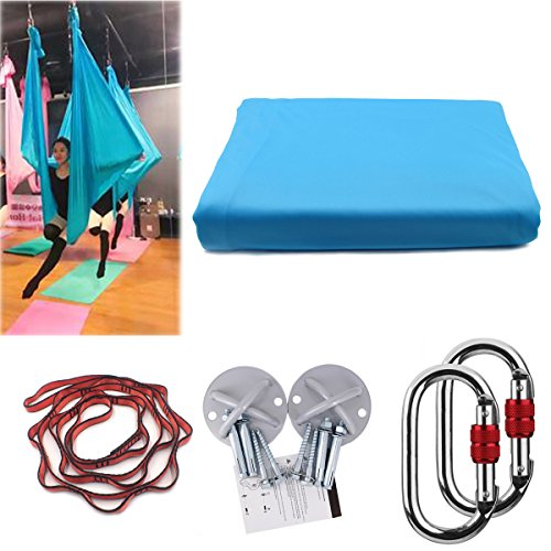 Kikigoal, amaca da yoga, amaca oscillante con carico di 500kg. misure: 500× 280cm. yoga in volo, antigravità. cinghia da yoga, cinghie di seta per yoga in volo, azzurro