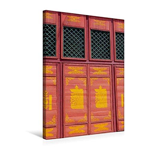 Premium Textil-Leinwand 50 cm x 75 cm hoch, Fenster im Kloster Gandantegchinlen   Wandbild, Bild auf Keilrahmen, Fertigbild auf echter Leinwand, Leinwanddruck: Ulan Bator, Mongolei (CALVENDO Orte)