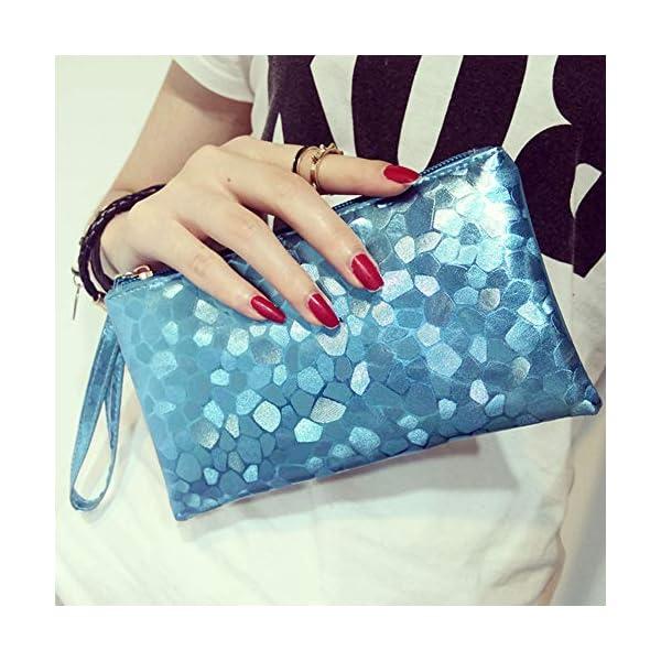 51f1PhryfJL. SS600  - Fansi - Bolso de mano multifunción para mujer, 1 unidad, bolsa de almacenamiento, pu, azul, 19*11*2cm