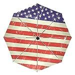 COOSUN American Stars And Strips Automatic 3 Folding Parasol Umbrella