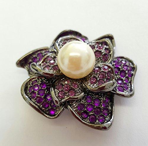 Wunderschöne Brosche Farbe anthrazit mit Swarovski Krystall und Perle Anstecknadel (anthrazit-lila)