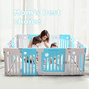 Umay Baby Playpen Kids Activity Center Safety Play Yard Toddler Fence Indoor and Outdoor-18Panels   3