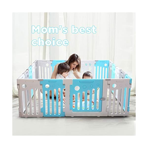 Umay Baby Playpen Kids Activity Center Safety Play Yard Toddler Fence Indoor and Outdoor-18Panels LONTEK 【Safety Material】Crafted with high quality non-toxic commercial grade HDPE material widely utilized for every day products, perfect for your baby 【Mom's Lifesaver】The playpen is more than enough for your kids to play, as well as learn to stand, walk, crawl, and even lay down. No need to worry about a restrictive space. Note: Please use it under the supervision of adults. Baby is prohibited from climbing over the panels. 【Sturdy Panels】Each panel bottom is outfitted with rubberized suction cups that keep it more sturdy holding on the floor and not be easily pushed or dragged by baby 1