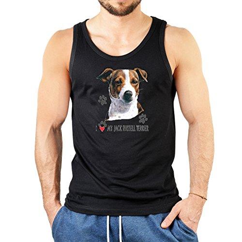 Cooles Männer Herren Fun Tank Top Muskelshirt - I love my Jack Russel Terrier - Hunde Top in Farbe schwarz (Jack-russel-terrier-rock)