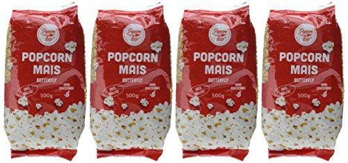 Popcorn Mais Butterfly 4 x 500g für Popcornmaschine Popcornloop Beste Gold Qualität Ohne Gentechnik Vegan Glutenfrei